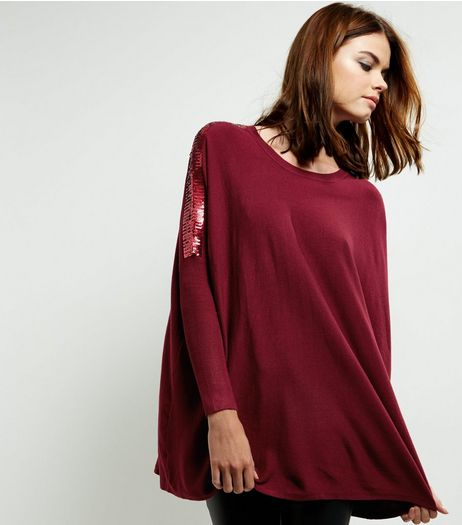 Blue Vanilla Burgundy Sequin Sleeve Oversized Top | New Look