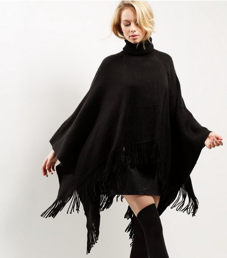 Blue Vanilla Black Turtle Neck Tassel Poncho | New Look