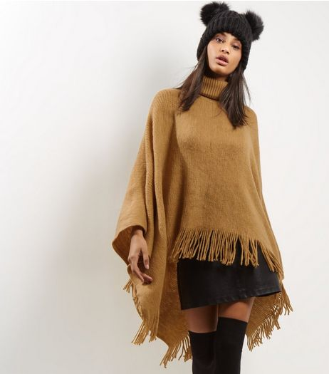 Blue Vanilla Camel Turtle Neck Tassel Hem Poncho  | New Look