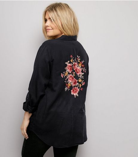 Curves Black Floral Embroidered Back Shirt  | New Look