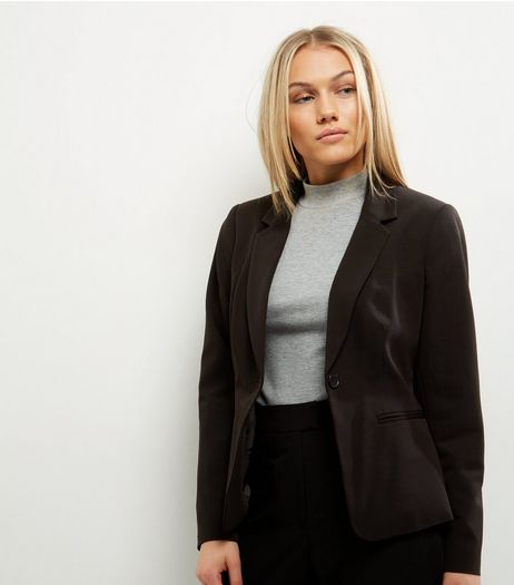 Petite Black Button Front Suit Jacket | New Look