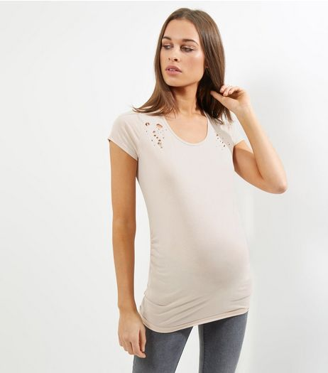Maternity Pink Ripped T-Shirt | New Look