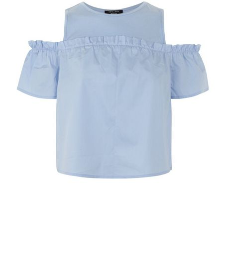 Teens Pale Blue Frill Trim Cold Shoulder Top | New Look