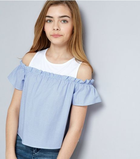 Teens Blue Stripe Frill Trim Cold Shoulder Top | New Look