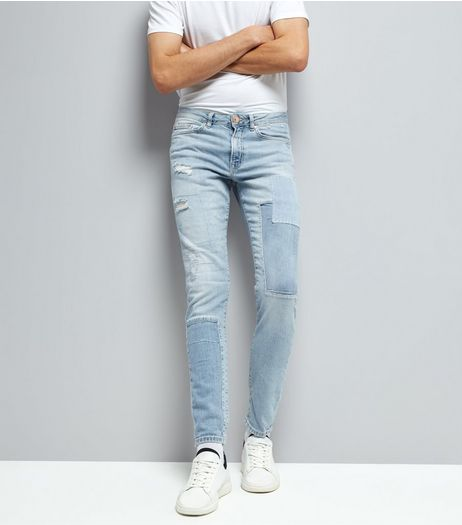 Pale Blue Light Wash Patch Skinny Jeans | New Look