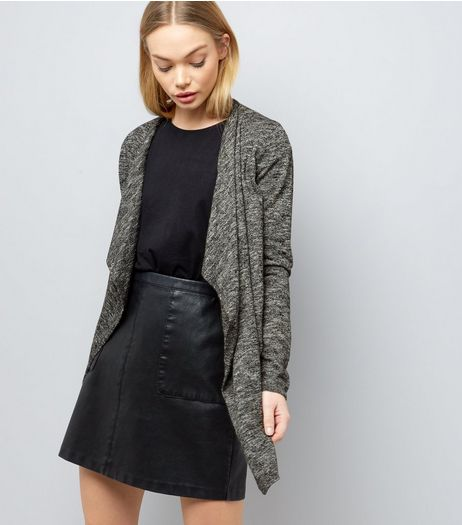 Black Fine Knit Waterfall Cardigan | New Look