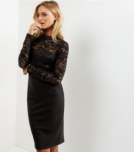Black Lace Long Sleeve Bodycon Dress | New Look