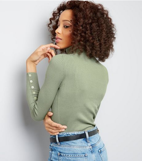 Olive Green Ribbed Turtle Neck Button Cuff Jumper  | New Look