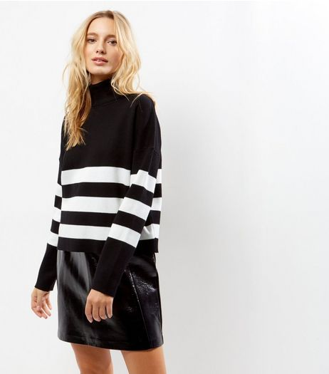 Black Stripe Hem Turtle Neck Long Sleeve Jumper  | New Look