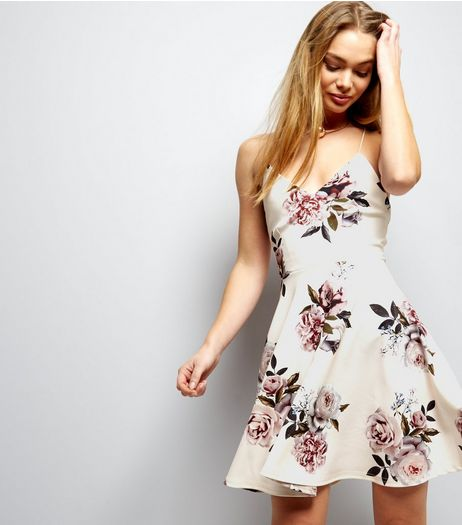 White Floral Print Cross Strap Back Skater Dress | New Look