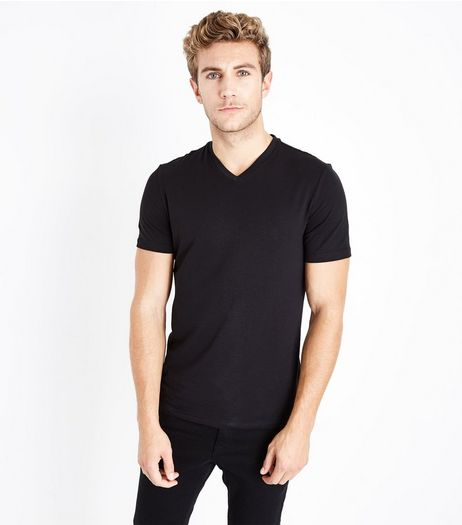 Black V Neck Stretch T-Shirt | New Look