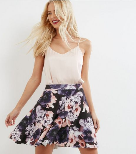 Black Floral Print Mini Skater Skirt  | New Look