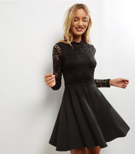 Black Lace Skater Dress  | New Look