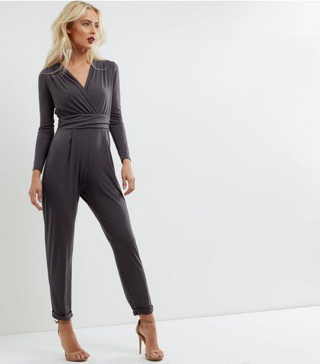 Dark Grey Wrap Front Long Sleeve Jumpsuit | New Look
