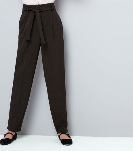 Teens Black Tie Waist Trousers | New Look