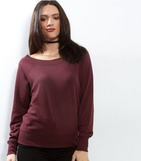 Burgundy Wide Neck Jumper | New Look