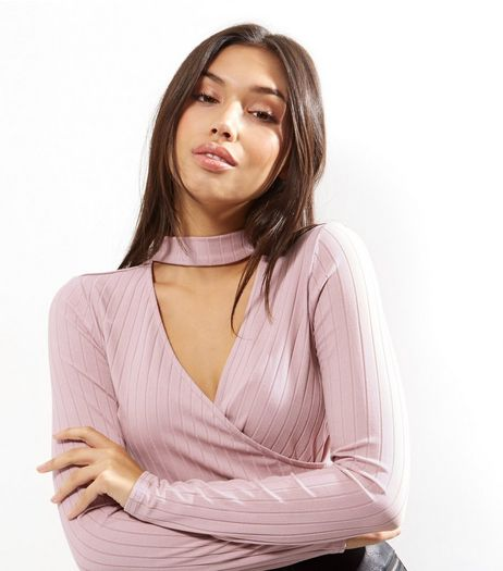 Mid Pink Ribbed Choker Neck Wrap Front Top | New Look
