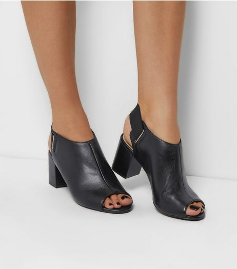 Black Comfort Leather Peep Toe Sling Back Heels | New Look