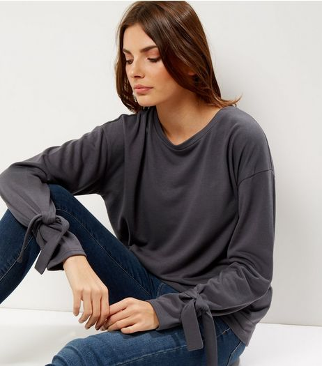 Dark Grey Tie Sleeve Sweater  | New Look