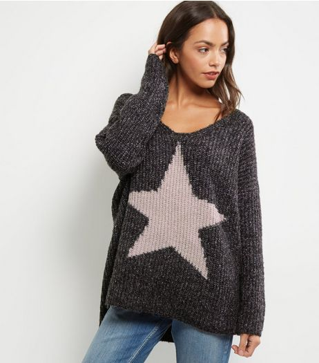 QED Dark Grey Star Oversized Jumper | New Look
