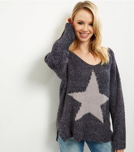 QED Navy Star Oversized Jumper | New Look