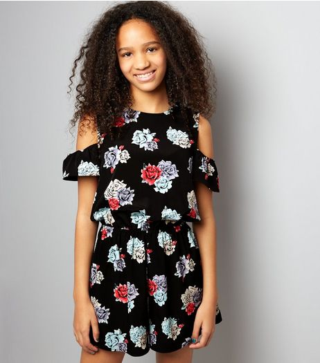 Teens Black Floral Print Cold Shoulder Playsuit | New Look
