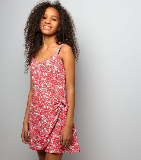 Teens Tropical Print Tie Side Playsuit | New Look