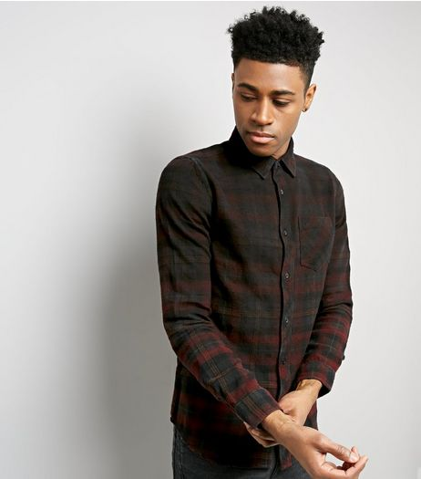 Burgundy Ombre Check Long Sleeve Shirt | New Look