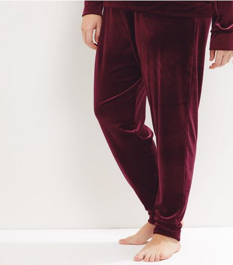 Curves Burgundy Velvet Joggers | New Look