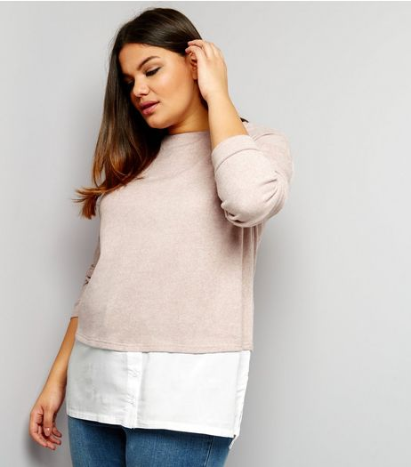 Curves 2 In 1 Brushed Jumper And Chiffon Top | New Look