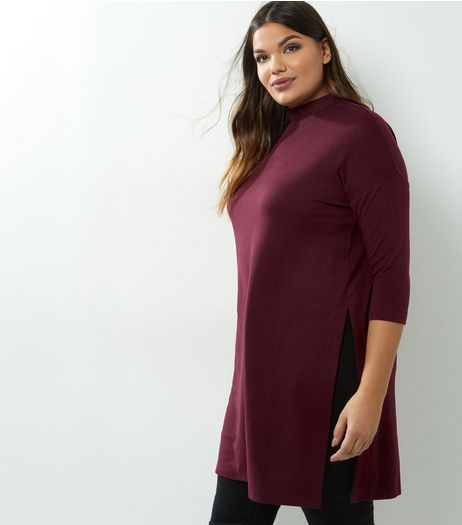 Curves Burgundy Brushed Fine Knit Funnel Neck Tunic | New Look