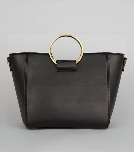Black Drawstring Ring Handle Tote Bag | New Look