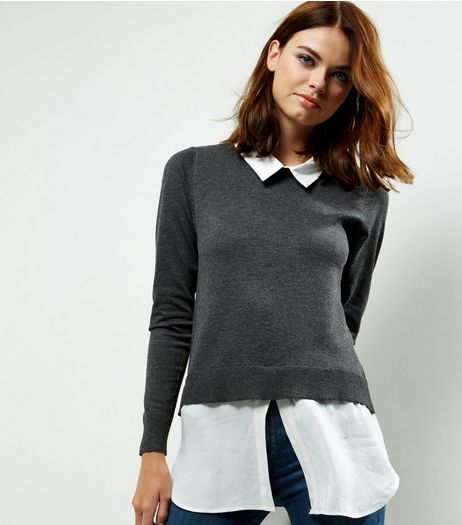 QED Dark Grey 2 In 1 Jumper | New Look