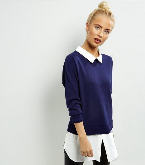 QED Navy 2 In 1 Jumper | New Look