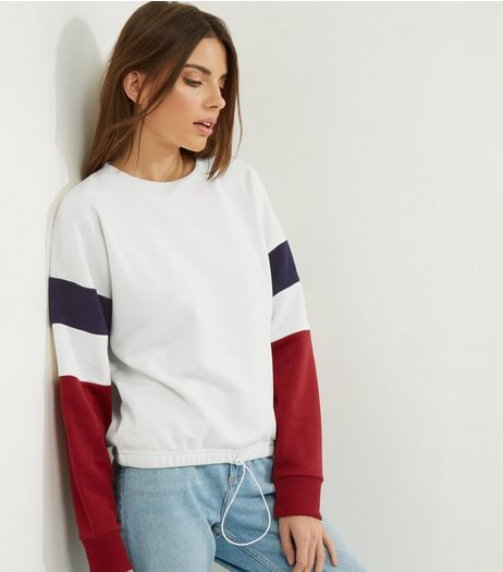 White Colour Block Sleeve Drawstring Sweater | New Look