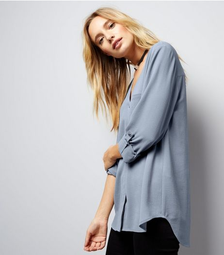 Pale Blue Pocket Front V Neck Shirt | New Look
