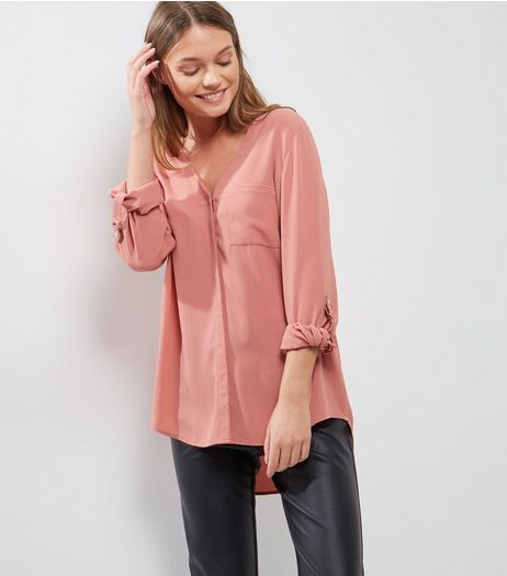 Mid Pink V Neck Roll Sleeve Shirt  | New Look