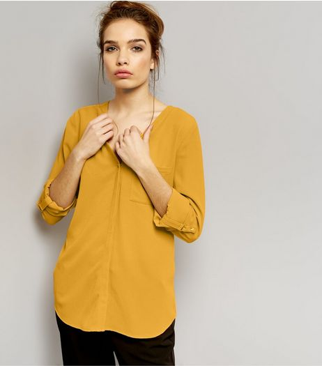 Yellow Pocket Front V Neck Shirt  | New Look