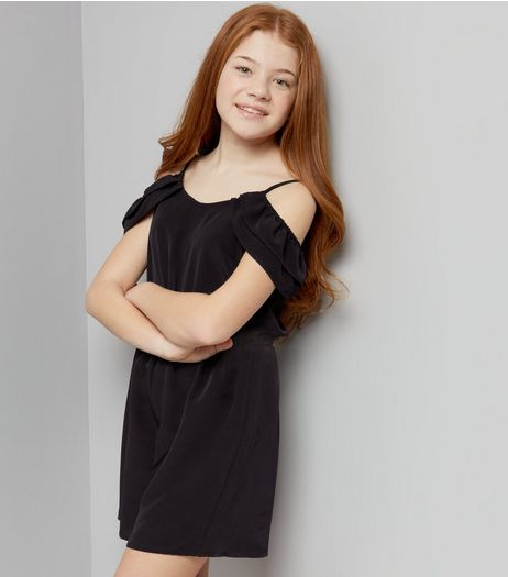 Teens Black Print Frill Trim Cold Shoulder Playsuit | New Look