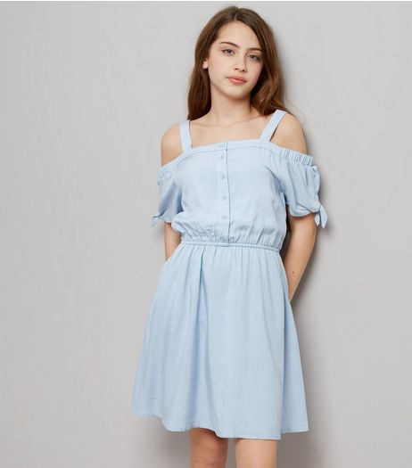 Teens Blue Button Front Cold Shoulder Dress | New Look