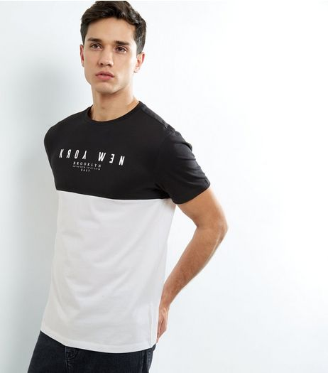 Black 'New York' Print Colour Block Short Sleeve T-Shirt  | New Look