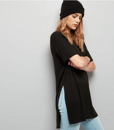 Black Longline Split Side Ribbed Tunic  | New Look