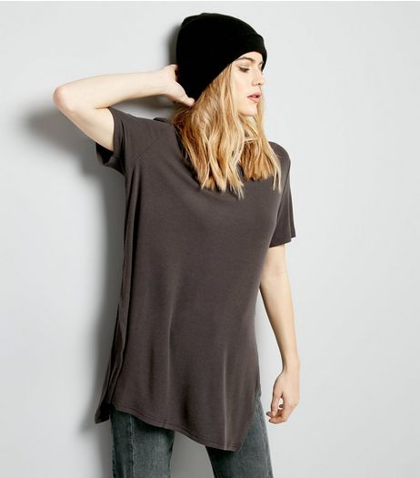 Dark Grey Split Side Longline Top  | New Look