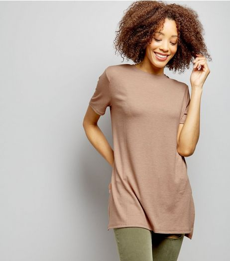 Light Brown Longline Split Side Ribbed Tunic  | New Look