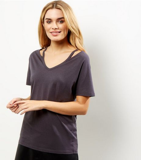 Dark Grey Cut Out Trim T-Shirt  | New Look