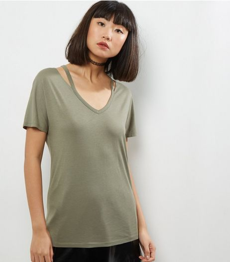Olive Green Cut Out Neck Short Sleeve T-Shirt  | New Look