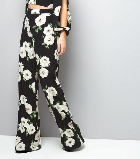 Black Floral Print Flared Trousers  | New Look