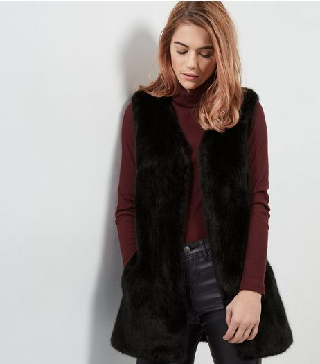 Black Faux Fur Gilet | New Look