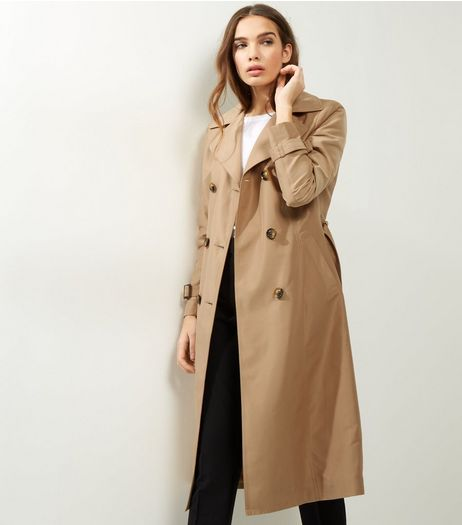 Camel Double Breasted Tie Waist Trench Coat | New Look