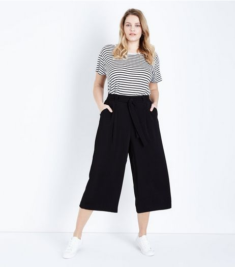 Curves Black Tie Waist Wide Leg Cropped Trousers | New Look